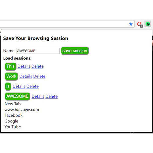save browsing session - save all your tabs in an instant